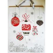 Karácsonyi díszek, ezüst csillámos ajándéktáska, L méret