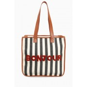 Womens Next Slogan Shopper Bag - Natural Stripe