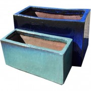 The Pot Co Clay Glazed Trough Planter Available in a Range of Sizes and Colours