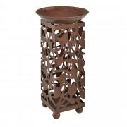 [casa.pro]® Columna para flores decorativa con macetero - color marrón herrumbre metal 71x36x36cm - Adecuado para uso interior y exterior