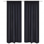 vidaXL 2 pcs Black Slot-Headed Blackout Curtains 135 x 245 cm