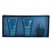 Versace Eros 5Ml Edt 5Ml + 25Ml Shower Gel + 25Ml Aftershave Balm Per Uomo (Eau De Toilette)
