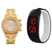 Paidu Gold Men And Black Led Kada Women Women Couple Analog Watches For Men And Women