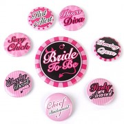 FunRobbers 8pc HEN PARTY NIGHT DO Party ACCESSORIES BADGES BRIDE TO BE CHIEF BRIDESMAID