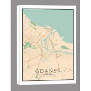 Gdańsk mapa kolorowa - obraz na płótnie