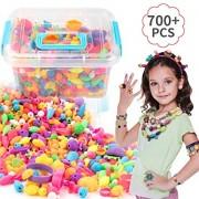 EXTSUD Pop Beads Set 700PCS+ DIY Jewelry Set BPA Free Making Necklace, Bracelet, Hairband and Ring Pop Snap Beads Set Creativity DIY Bead for Kids Gir