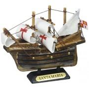Hampton Nautical Wooden Santa Maria Tall Model Ship Christmas Ornament