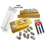 Domino With Engraved Cuban Flag Double Nine With 4 Wood Tile Holders And Score Pad