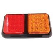 Lampa stop auto dreptunghiulara LED cu 2 cadrane Pozitie/Frana-Semnalizator 12/24V