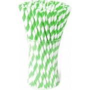 Paie Biodegradabile din Hartie 500 Buc/Set Grosime 8 mm Ambalate Individual Culoare Alb/Verde Paie Bauturi Paie Ecologice Paie de Baut