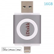 Pen Drive Lightning / USB 3.0 iDiskk - iPhone, iPad, iPod - 16GB - Cinzento Espacial