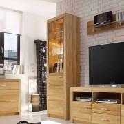 Wohnzimmervitrine aus Asteiche geölt 200 cm hoch