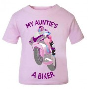 T - Pink purple My Auntie A Biker motorcycle childrens kids t shirt 100% cotton