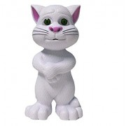 Rvold Intelligent Touching Talking Tom Cat with wonderful voice, Stories and Songs, Touch Functions (White)