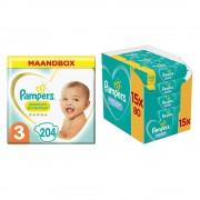 Pampers Premium Protection Luiers Maat 3 Maandbox en 12x Pampers Babydoekjes Fresh Clean Pakket Pakket