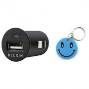UNIVERSAL BELKIN MICRO USB CAR CHARGER With Free Smiley Key Chain