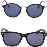 Ivonne Retro Square, Round Sunglasses(Black, Grey)