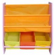 Organizator carti si jucarii cu cadru din lemn Pink Crayon