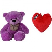PRIYA TOYS Combo Offer Pack of Two Purple Teddy Bear 4 Feet Small Red heart For Some one Special 15 Cm (Purple Red)