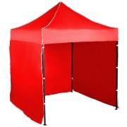 Rýchlorozkladací nožnicový stan 2x2m – oceľový, Červená, 3 bočné plachty