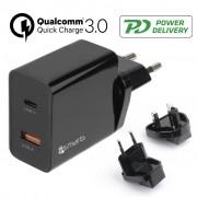 4smarts VoltPlug Fast USB Travel Charger Set - USB PD %26 QC3.0 - 18W - Black