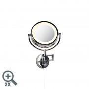 QAZQA Round make-up wall mirror chrome steel pull cord switch x2 - Vicino