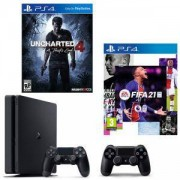 Конзола PlayStation 4 Slim 500GB Black, Sony PS4 + ИГРА Electronic Arts FIFA 21 (PS4) + Игра Uncharted 4: A Thief's End за PS4 + Геймпад - Sony PlayStation DualShock 4 Wireless, версия 2, черен Black