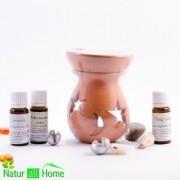 Candelă de aromaterapie și uleiuri esențiale 3X10ml: Ylang-Ylang, Portocale dulci și GRAPEFRUIT