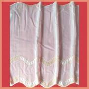CUHA, hímzett, fehér voile vitrázs függöny, narancssárga mintával - 60 cm magas