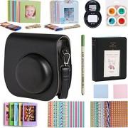 SAIKA Kit de accesorios de cámara instantánea Paquetes para Fujifilm Instax Mini 8 - 11 en 1 - Caso Bolsa, álbum de fotos, Selfie Lente, Filtros, pegatinas, Film Marcos, lente Gamuza de limpieza, bolígrafo, etc., Negro, Una talla