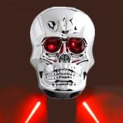 Strieborné Led + Laserové zadné svetlo na bicykel SMRTKA