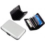 Portofel elegant pentru carduri sau documente - carcasa din aluminiu, culoare Argintiu