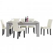 PremiumXL - [en.casa] Blagovaonski stol - rustični hrast - 170x79 cm - sa 6 tapeciranih stolica - krem -
