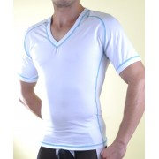 Don Moris Contrast Stitching V Neck Short Sleeved T Shirt White DM071055
