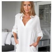 Camisa Profundo V Pull-over Gasa Sólido Color Sexy Mujer Blanco