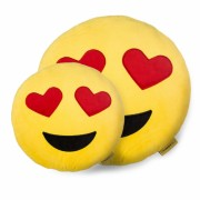 Perna Decorativa Emoji Indragostit Happy Face Galben XXL 50 CM
