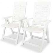 vidaXL Cadeira de jardim reclinável 2 pcs 60x61x108 cm plástico branco