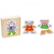 Детски занимателен комплект - Смешни животни за обличане в дървена кутия Goki, 871039
