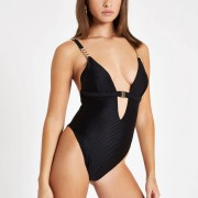 River Island Womens Black textured clip front swimsuit (6)