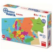 Puzzle geografic - Harta Europei (69 piese)