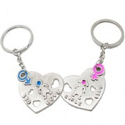 Faynci Love Heart Printed Boy and Girl Couple Key Chain for Gifting for Valentine Day/Birthday/Friendship Day
