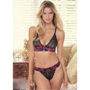 Lace And Satin Bra Set Holiday Gift Guide - Black/Red