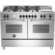Bertazzoni MAS1206 Gasspis 120 cm, 2 ugnar, 6 brännare + elektrisk tepanyaki, Rostfri