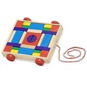 36-Unit Block Set Pull-Along Cart + FREE Melissa & Doug Scratch Art Mini-Pad Bundle [42093]