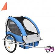 vidaXL 2 u 1 Dječja prikolica za bicikl kolica plavo siva