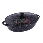 Cratita ceramica ovala Vabene, 2.8 L, Capac, Negru