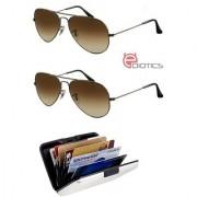 Ediotics Set of 2 Classic Brown Aviator Style Designer Sunglasses for Men Alumi Wallet Combo