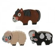 Alcoa Prime 3PCS Animal Magnetic Puzzles Wooden Toys Cartoon Animal Puzzle Tangram Games