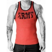 Whittall & Shon Army Ribbed Tank Top T Shirt Red 350