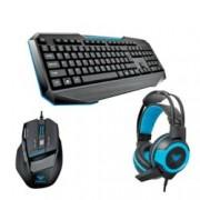 Комплект Aula Gaming Set, клавиатура/мишка/слушалки, гейминг, микрофон, 2000 dpi, мултимедийни бутони, USB, черни